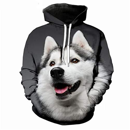 Hombres Mujeres Husky Wolf Hoody Sudaderas con Capucha Impresas en 3D Hip Hop Chándal Tops Animal Perros Sudadera con Capucha Divertido Streetwear 01 XXXL