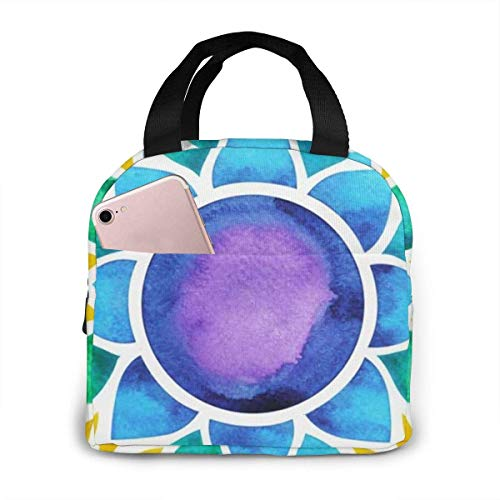 7 Color Chakra Sign Symbol Colorful The Art Portable Insulated Lunch Bag Tote 8.5 X 8 X 5 Inch Waterproof Meal Prep Box with Zipper for Office School Women Men Picnic Food Kids Girls Boys