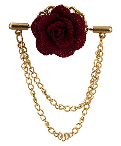 Knighthood Maroon Flower with Double Hanging Chain Lapel Pin Badge Coat Suit Wedding Gift Party Shirt Collar Accessories Brooch for Men