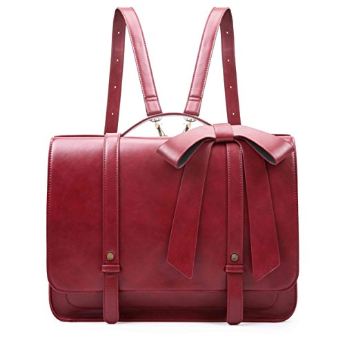ECOSUSI 14' Laptop Messenger Briefcase Women Vintage Bag Ladies Satchels Backpack with Bow