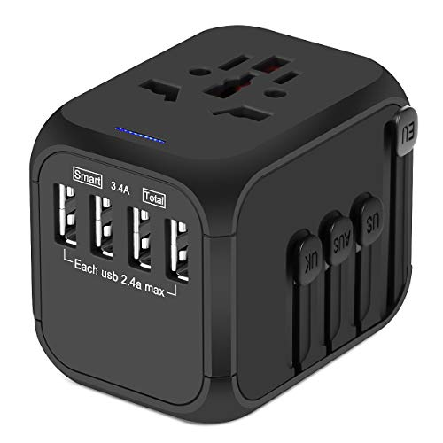 Upgraded Universal Travel Adapter, Castries All-in-one Worldwide Travel Charger...