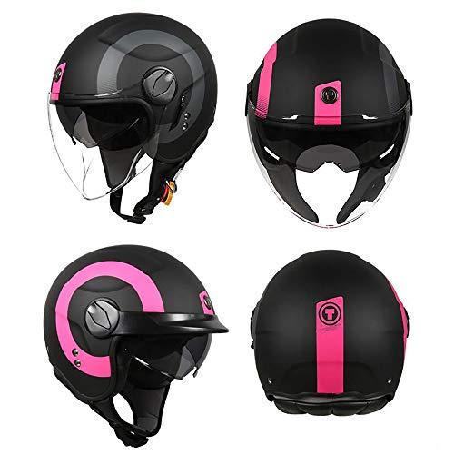 Jethelm Helm Roller-Helm Open Face Helm Halbhelm DOT/ECE-Zertifizierung Retro-Motorradhelm Multifunktionaler PersöNlichkeitshalb Halbhelm Freer Krempe Outdoor-Reithelm