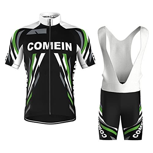 Abbigliamento Ciclismo Uomo Estivo, Maglia Ciclismo Maniche Corte e Pantaloncini Bicicletta Corti con 9D Gel Imbottiti (Nero, XL)