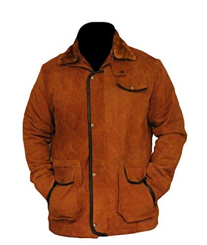 Classyak - Cappotto da Uomo in Pelle Scamosciata, qualità Premiere Pelle Scamosciata Marrone XXXXXL - per Petto 132,08 cm-137,16 cm