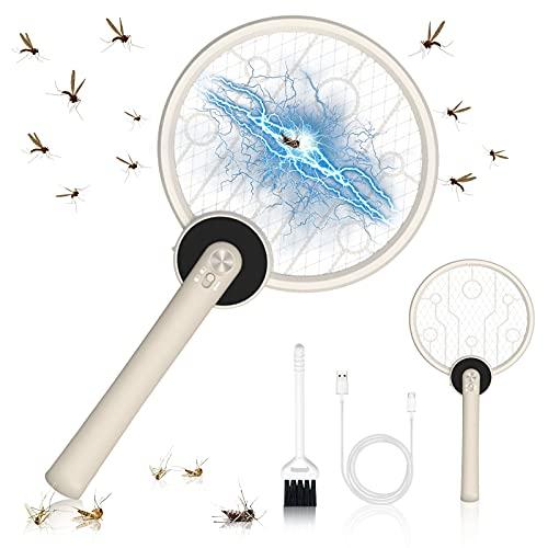 HMGDFUE Matamoscas Electrico, 2 in 1 USB Recargable Raqueta Matamoscas Electrica Atrapamoscas Eléctrico para Mosquitos Zapper, Iluminación LED Atrapamoscas Matamoscas para Mosquitos,Moscas,Abejas