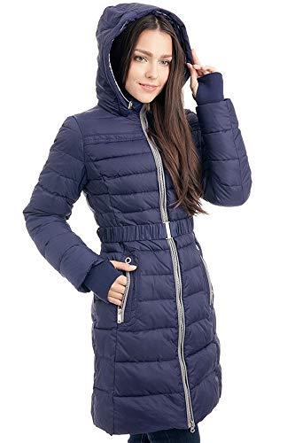 Grimada V306 dames winterjas jas jas in dons-look SNOWIMAGE met capuchon blauw