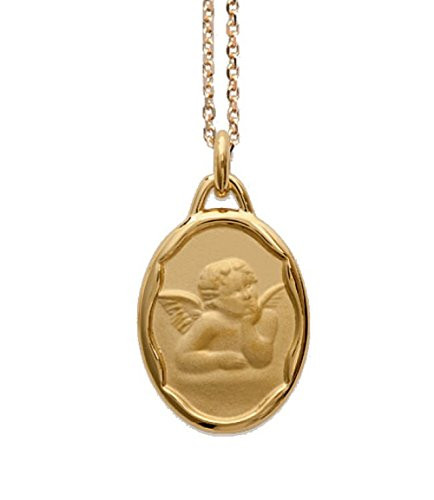 Ascalido - Medalla de nacimiento bañada en oro, diseño de ángel, incluye cadena y estuche, se puede grabar, para bautizo o comunión, para bebé, niño o mujer