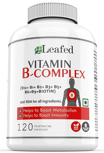 Leafed Vitamin B Complex with 100% RDA of 8 B vitamins ( B1, B2, B3, B5, B6, Biotin, B9 and B12), Supports Immune and Normal Energy Metabolism - 120 Vegetarian Capsules, 4 Months Supply