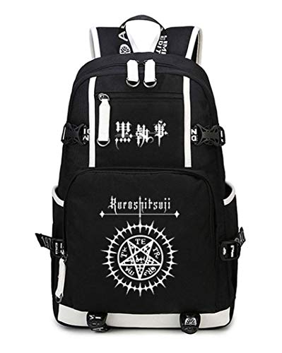 Cosstars Black Butler Anime Luminous Backpack Student Schoolbag Laptop Book Bag Casual Dayback Black