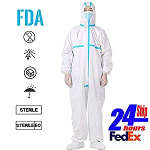 REDESS Disposable Isolation Coveralls Non-Porous Clothing Uniforms Anti-Dust Protective Clothing Ventilation Block infeetion (L)