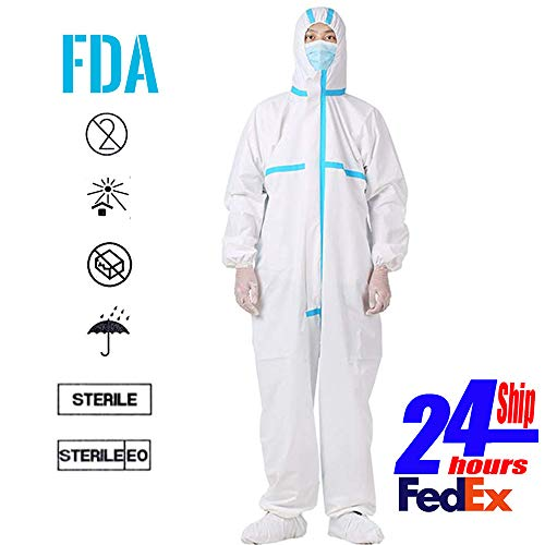 REDESS Disposable Isolation Coveralls Non-Porous Clothing Uniforms Anti-Dust Protective Clothing Ventilation Block infeetion (M)
