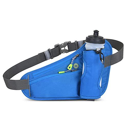 Riñonera Running con Soporte para Botella de Agua (incluida la Botella), Cinturón Running Impermeable Correa Elástica Ajustable Cinturon para Correr Riñonera Deportiva para Hombre Mujer-Azul
