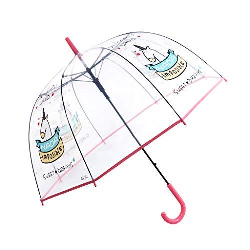 Paraguas Transparente, a Prueba de Viento y a Prueba de Lluvia, Forma de la bóveda de Moda con Unicornio patrón, Paraguas Largo, Rosado