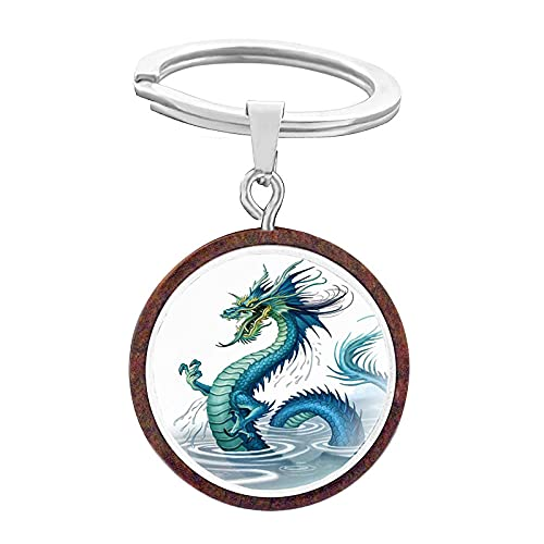 Retro Dragon Shaped Keychain for Men and Women Design Qinglong Charizard Wooden Unique Glass Dome Gifts-KB768