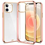 XNMOA Compatible with iPhone 12,iPhone 12 Pro Clear Case 6.1inch for Women Girls Ultra Soft Case Durable Shockproof Transparent Bumper Hard Anti-Slip Back Protective Cover Case,Rose Gold