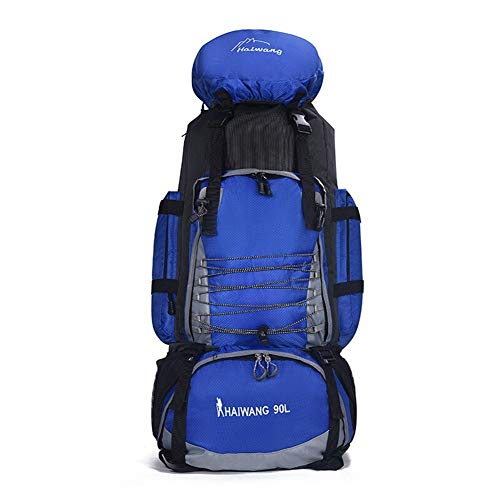 MMWYC Outdoor Bag 90L Large Capacity Travel Bag Waterproof Luggage Back 3 Pack Rucksack Camping Tent Bag (Color : Dark Blue)