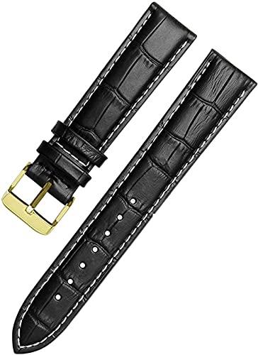 JZDH Correas de Banda de Reloj de Cuero 12-24mm Reloj Pulsera Pulsera Relojes (Color: Negro Blanco Dorado, tamaño: 15mm)