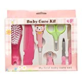 Koochie-Koo Baby Nail Hair Daily Care Kit Newborn Kids Grooming Brush and Manicure Set, Newborn Grooming Kit, Baby Care - 8 Pcs (Pink)