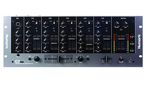 Numark C3USB - 5 Kanal-Rack-Mixer für mobile DJs mit integriertem Plug-Und-Play-USB-Audio-Interface, Kanal-EQs, austauschbarem Crossfader