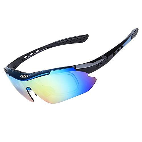 OPEL-R Gafas Ciclismo Motocross Anti-UV400 Gafas De Sol Polarizadas 5 Lentes para MTB Correr, Pescar, Conducir, Deportes Al Aire Libre (Blueblack)