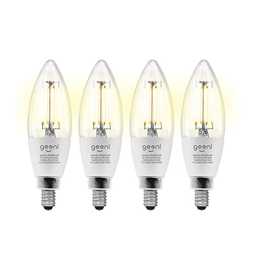 Geeni LUX Edison B11 Filament WiFi LED Smart Bulb, B11 Candelabra, 4W, E12 Base, Dimmable, White Light, Compatible with Amazon Alexa & Google Home - No Hub Required- 4 Pack