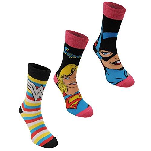 Dc Comics Mujer 3 Paquete Calcetines Calzado Accesorios Senoras Acanalado Multicolor Ladies...