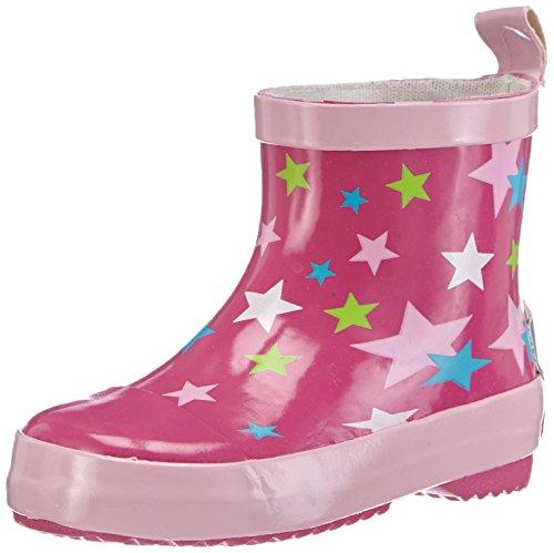 Playshoes Unisex-Kinder Halbschaft-Gummistiefel aus Naturkautschuk, Trendige Regenstiefel mit Reflektoren, mit Sternen-Muster, pink, 23 EU
