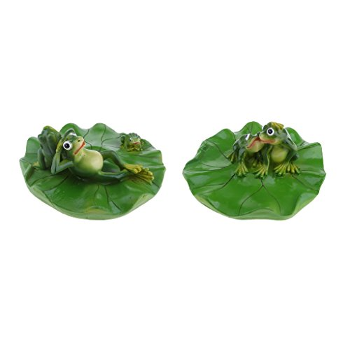 SM SunniMix 2X Harz Teich Lily Floating Decor Pflanze Mit Küssendem Frosch & Familie Ornament