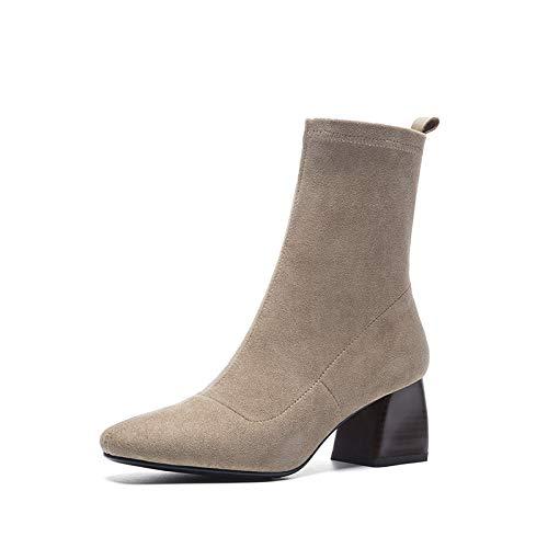 Shukun laarsjes voor jongens en meisjes, persoonlijkheid, Square Head, hoge hakken, sokken, laarzen, skinny boots dik met Martin laarzen