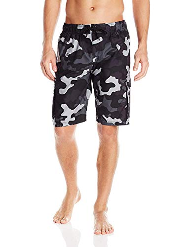 Kanu Surf Men's Barracuda Swim Trunks (Regular & Extended Sizes), Camo Black, 3X
