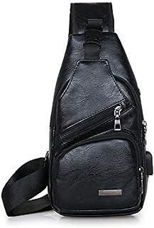 Tryeasy Men's single shoulder bag with usb charger part cross body bag backpack handbag