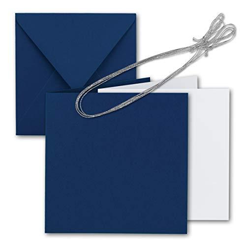 10x Quadratisches Falt-Karten-Set 15 x 15 cm - mit Brief-Umschlägen & Einlege-Blätter & Schmuck-Band - Nacht-Blau - für goldene Einladungskarten, Hochzeit, Weihnachten - von Gustav NEUSER®