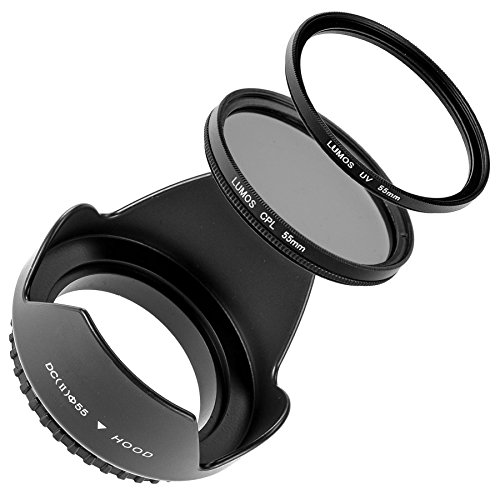 Lumos Creative Zubehör Filter-Set für Kamera Objektiv mit 55mm Filtergewinde   Gegenlichtblende CPL Polfilter UV-Filter
