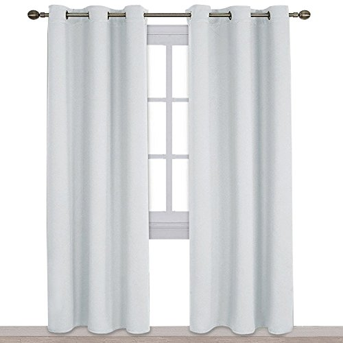 NICETOWN Easy Care Solid Thermal Insulated Grommet Room Darkening Curtains/Drapes for Bedroom (2 Panels, 42 by 84, Light Grey-Greyish White)