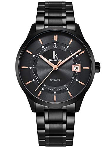 Alienwork Herren Damen mechanische Automatik-Uhr schwarz mit Edelstahl Metallarmband Kalender Datum