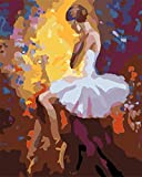 ZDXFG Paint by Numbers Numbers Kit for Adults Kids Beginners Number Kits Drawing Paintwork with Paintbrushes Home Wall Decoration,Ballet dancer-smt1621(with Frame)