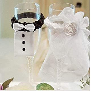 Wedding Wine Glasses Covers, 1Pair Bride and Groom Wedding Champagne Toasting Flute Cup Covers, DIY Decoration Supplies for Wedding (White+Black)