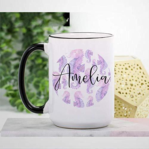 Taza de caballito de mar Taza de café de 11 oz Novedad Taza de té Regalos personalizados de caballito de mar para mujeres, niñas Taza de cerámica Seahorse Lover Regalo de cumpleaños de Navidad para mu