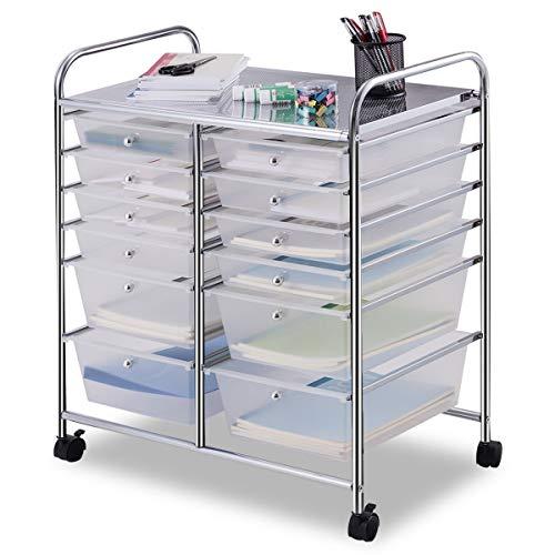 Giantex 12 Drawer Rolling Storage Cart Tools Scrapbook Paper Office School Organizer (White)