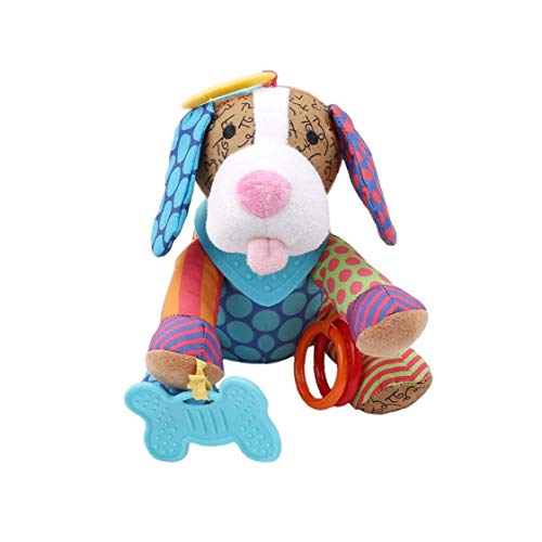 Bebé perro sonajero peluche juguete peluche juguetes colgando juguetes, cochecito infantil juguetes de cama de asiento de coche, juguetes de desarrollo de la actividad recién nacida, bebés viajes únic