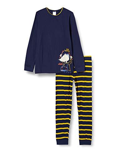 Schiesser Jungen Rat Henry Kn Schlafanzug lang Pyjamaset, dunkelblau, 104