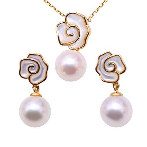 Jyx perla ciondolo orecchini set oro 18K di lusso, 8-8.5mm, colore: Bianco perla Akoya giapponese Seawater collana ciondolo perla coltivata
