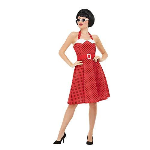 NET TOYS Disfraz Rockabilly años 50 para Mujer - Rojo-Negro S (ES 36/38) - Encantador Disfraz Estilo Pin Up para Dama Festival y Fiesta de Disfraces