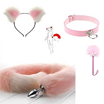 Fox Long Tail Bùtt Plùg Set Anime Fluffy Headband Neck Choker with Feather Stick Cosplay Maid Toy Gift for Partner,Pink&White,M