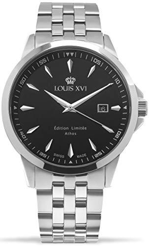 LOUIS XVI Herren-Armbanduhr Athos Slim Stahlband Silber Schwarz Analog Quarz Edelstahl 926