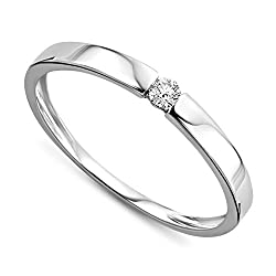 Material: White Gold 9KT, Gold Weight 1.03 Gr, Diamond weight 0.05 ct, Diamond units 1 The philosophy of our label is simple: timeless and elegant designs, jewellery suitable for every occasion This beautiful ring is a wonderful gift for couples or n...