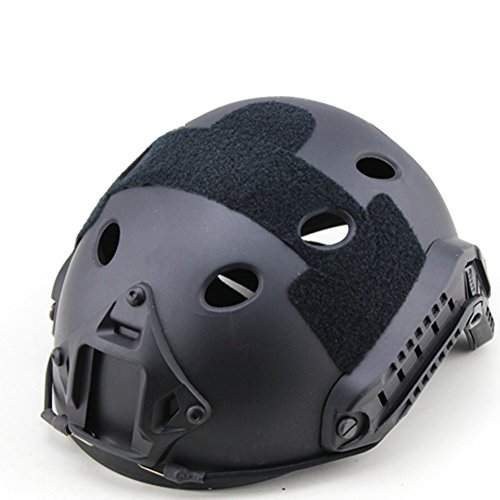 PJ Type Fast Molle Airsoft e Paintball Tactical Casco protettivo Veloce ABS Tactical Mask Jump Military Helmet, Nero