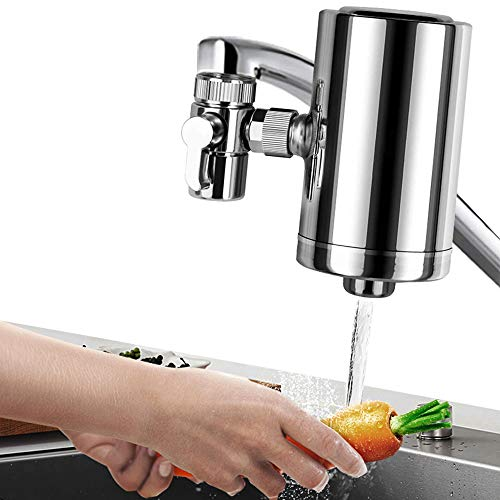 LELEKEY Tap Water Filter System, Premium 304 Stainless Steel,528-Gallon 6-Stage Water Purifier Filtration Faucet Mount,Reduce Lead & Chlorine,BPA Free,Fits Most Standard Faucets (1 Filter Included)