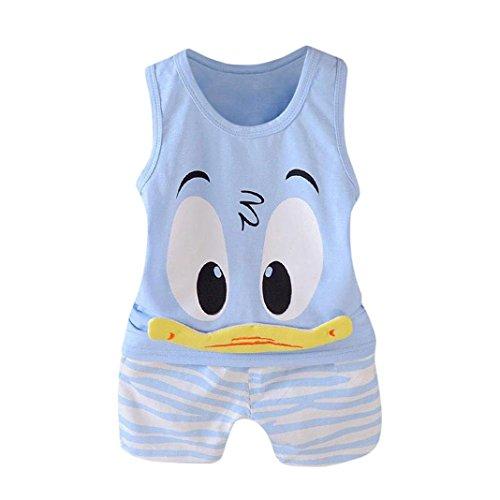 QinMM 2 Stücke Kleinkind Baby Mädchen Jungen Cartoon Weste Tops T-Shirt Shorts Outfits Set Kleidung Set Drucken Baby Kleidung Camouflage Kühlen Disney Grün Blau 12 Mt-3 T (12M, Blau)