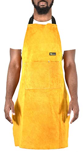 "Leather Welding Apron Heat Flame Resistant Heavy Duty Work Apron with 2 Pockets, 36"" Long with back adjustable back and neck straps for Men & Women, color Brown"